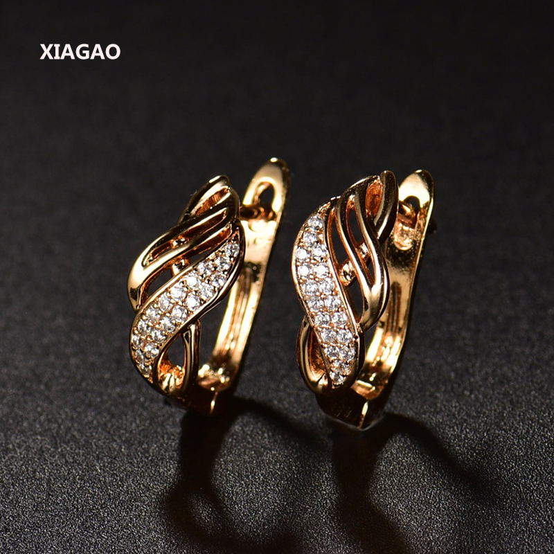 XIAGAO New Design Gold-color Charm Austrian Crystal Hoop Earrings Shiny Rhinestone Delicate Earring Jewelry