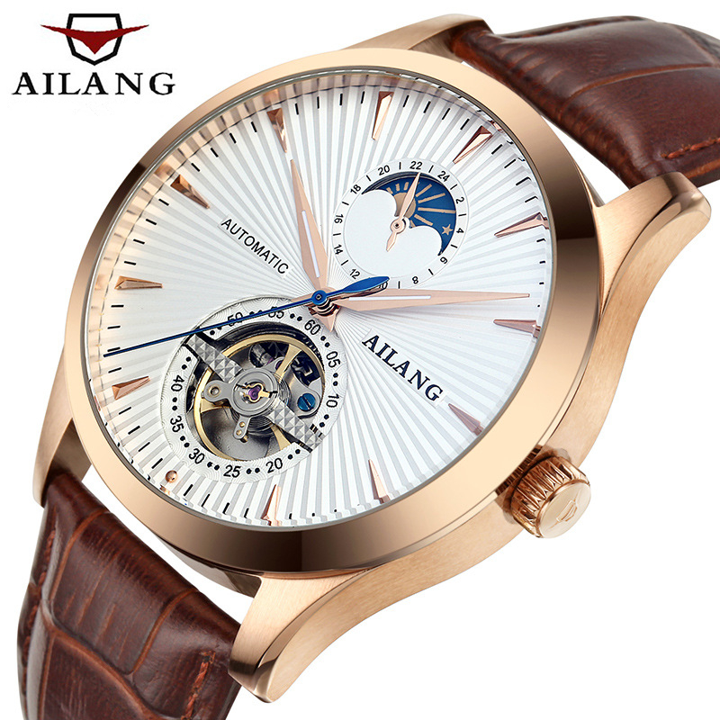 Fashion Style Skeleton Tourbillon Mechanical Watch Automatic Men Classic Rose Gold Leather Mechanical Wrist Watches Reloj Hombre 2017 new top skeleton tourbillon mechanical watch automatic men classic rose gold leather mechanical wrist watches reloj hombre