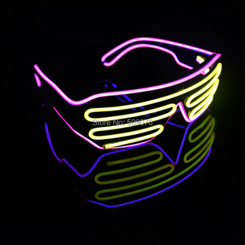 Free Shipping 2pcs/lot Sound Music Voice Activate led glasses El Wire led shutter Glasses double color for DJ/Party Supplies