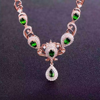 Natural green diopside Necklace Natural Gemstone Pendant Necklace 925 sliver women Luxury trendy Crown women party fine Jewelry