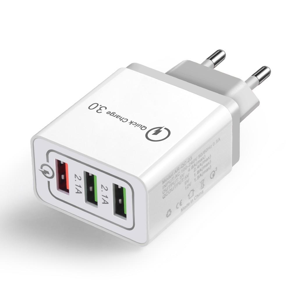 Image 3 - Quick Charge 3,0 настенное зарядное устройство 3 порта USB ЕС США штекер для iPad Tablet Phone Быстрый зарядный дорожный адаптер Android быстрое зарядное устройство-in ЗУ для мобильных телефонов from Мобильные телефоны и телекоммуникации