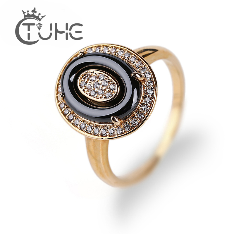 Fashion Black Ceramic Gold Wedding Rings For Women Jewelry Elegant Style  3mm Rhinestone Egg Shape Ring Crystal bagues pour femme 025a17933485