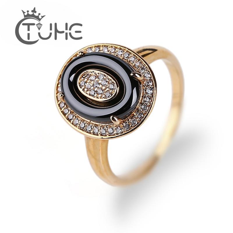 Mode noir en céramique or anneaux de mariage pour les femmes bijoux Style élégant 3mm strass oeuf forme anneau cristal bagues pour femme bague ceramique pour femme bague versage