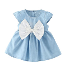 цена на Children Cotton Girls Dress 2020 Summer Princess Bowknot Dress Tunic Children Costume For Kids Dresses Clothing