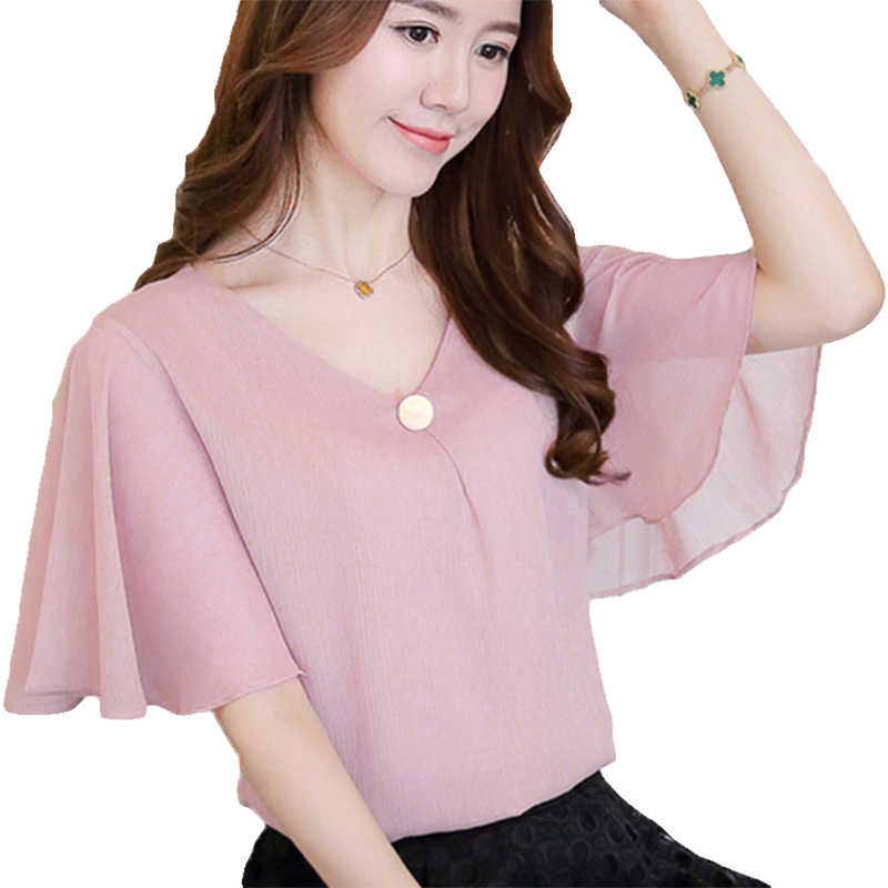 Summer Chiffon Blouse Women Plus Size 4xl Womens Blouses Pink Shirt Ruffle Short Sleeve Ladies Tops Blusas Femininas Loose Top