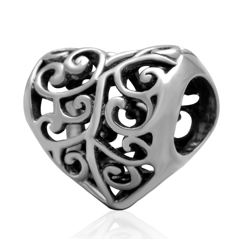 Heart Everbling Jewelry Authentic 925 Sterling Silver Charm Beads Fits for Pandora Charms Bracelet free shipping