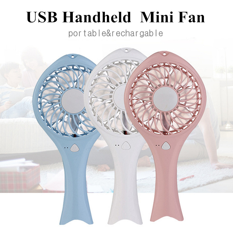Portable Mini USB Charge Powered Fish Shape Fan Handheld Hand Holding Rechargable Fans 2 Models Wind DC5V 3W