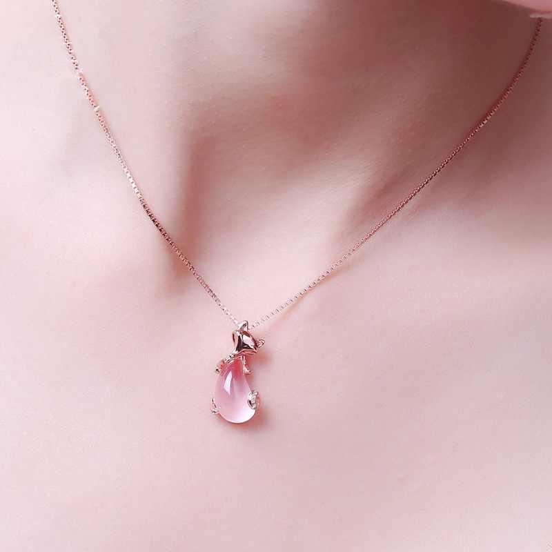 MOONROCY дропшиппинг ювелирные изделия оптом розовое золото цвет секс лиса животное Росс кварц розовый опал ожерелье для женщин девочек чокер