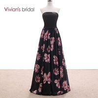 Vivian bridal black print avondjurk lange een line feestjurk strapless backless avondjurk