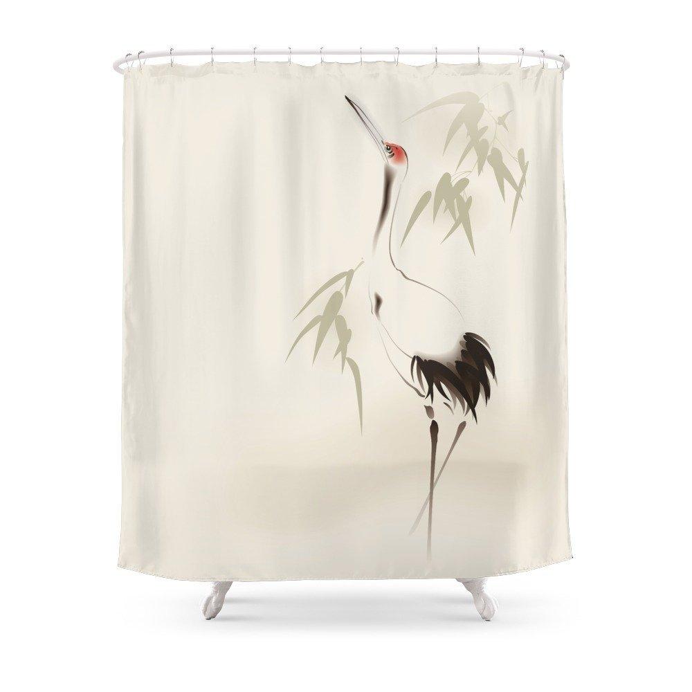 Oriental Red Crowned Crane 001 Shower Curtain Set Waterproof ...