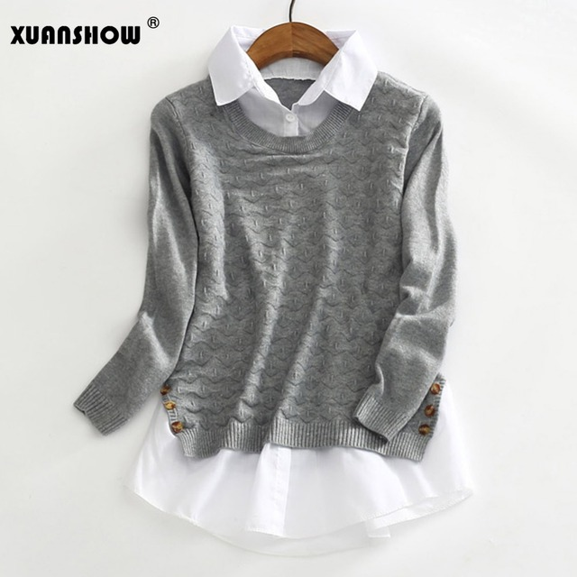 Pieces Long Sleeved Pullover Women Grey Free Shipping Enjoy Purchase Cheap Price 15QW9SJI