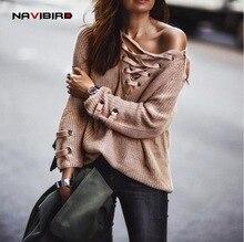 свитер зимние на шнуровке спереди вязать v-образным женские свитера и пуловеры 2017 пуловер женский Длинные свободные с открытыми плечами  лоскутное трикотаж осень кофты женские