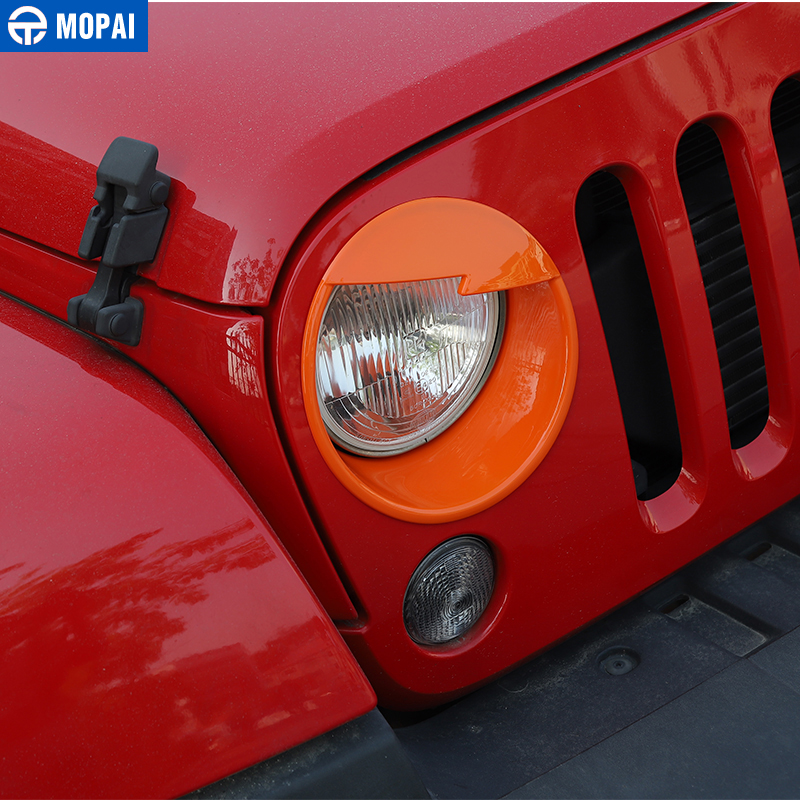 Image 3 - MOPAI Car Front Headlight Head Light Lamp Decoration Cover Exterior Stickers for Jeep Wrangler JK 2007 2016 Car Styling-in Lamp Hoods from Automobiles & Motorcycles