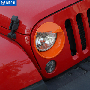 Image 3 - MOPAI Car Front Headlight Head Light Lamp Decoration Cover Exterior Stickers for Jeep Wrangler JK 2007 2016 Car Styling