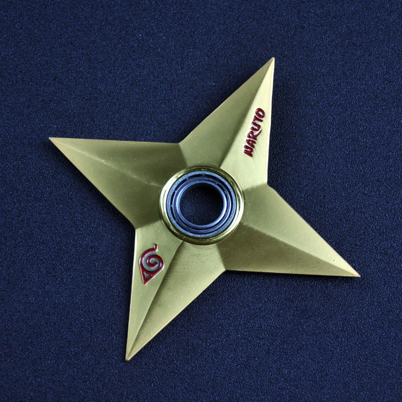 Gold High Quality Naruto Shuriken Gold Zinc For Children Alloy Uzumaki Rotary Dart Gift Toys For Kids Free Shipping