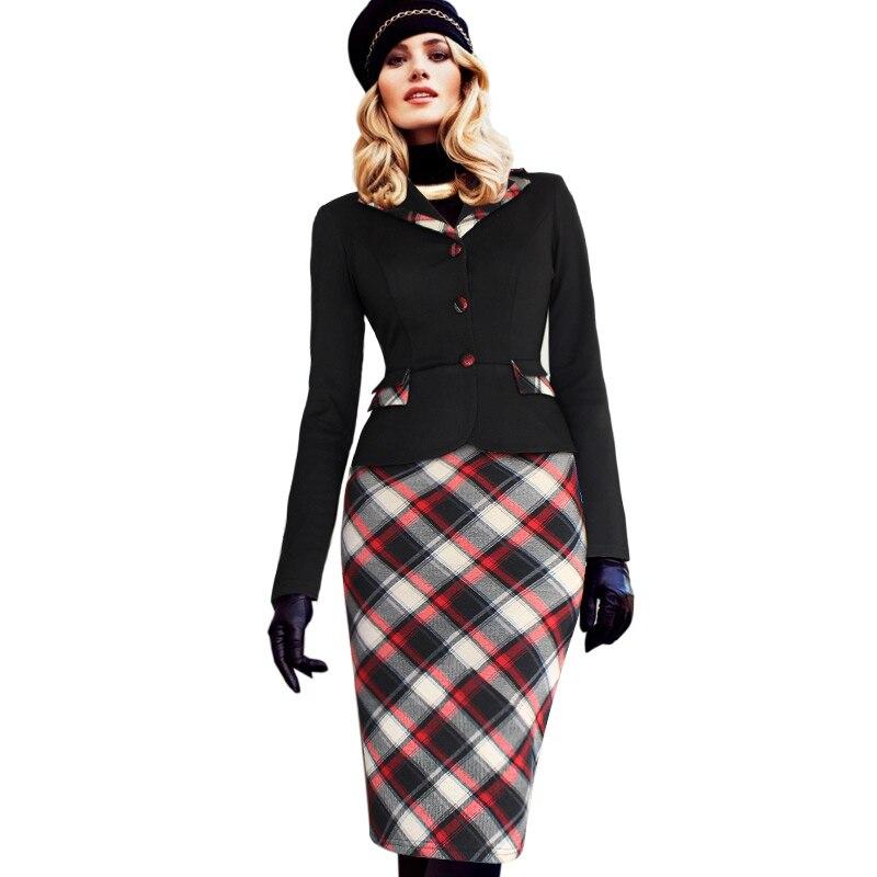 Vfemage Womens Winter Fashion Colorblock Tartan Lapel ...