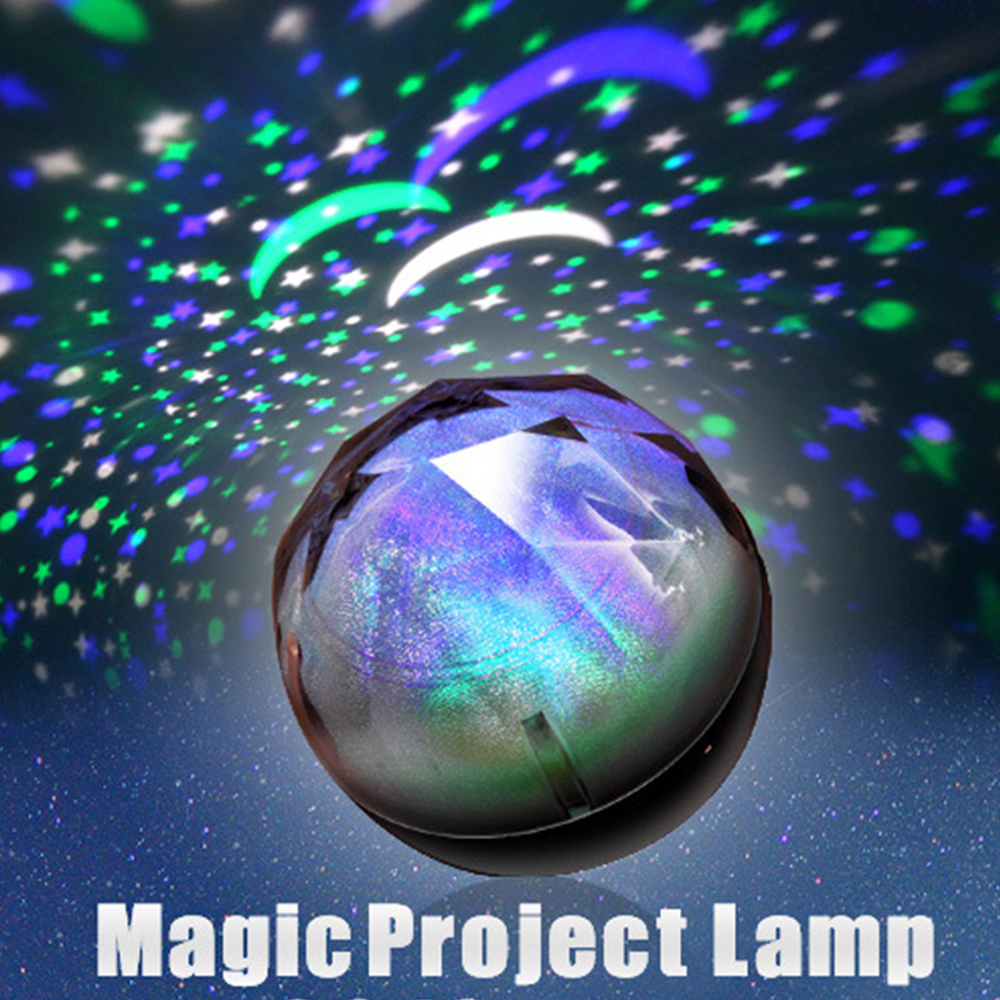 1PCS Portable Magic Project Lamp Diamond Shape 3 Color Changing LED Star Projector USB Charging Children Night Light Projector