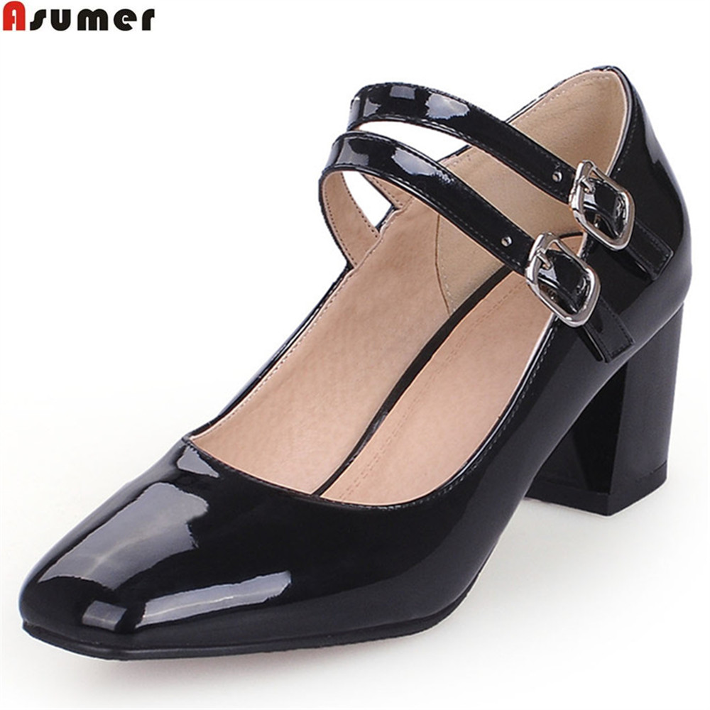 ASUMER black red white square toe buckle spring autumn shoes woman pumps mary janes women high heels shoes big size 33-43 asumer gold silvery fashion square toe buckle ladies single shoes spring autumn women high heels shoes big size 32 44