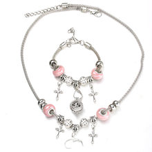 6 Colors Cross Necklace Bracelet Set Exquisite Pink Bead Hollow Chain Beaded Bracelet With Hooks Fashion DIY Pendant Jewelry(China)