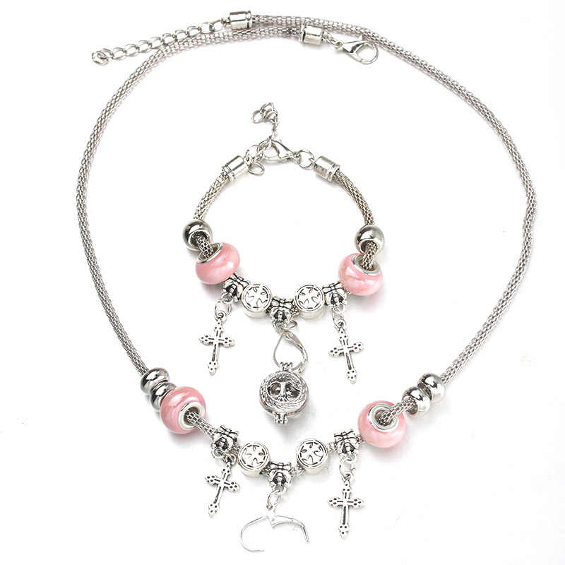 6 Colors Cross Necklace Bracelet Set Exquisite Pink Bead Hollow Chain Beaded Bracelet With Hooks Fashion DIY Pendant Jewelry