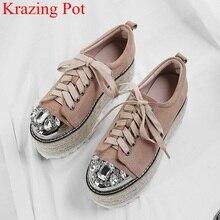 Hot البيع العلامة التجارية منصة جلد طبيعي فاخر عالية الكعب الدانتيل يصل النساء مضخات الكريستال حجر الراين سميكة أسفل حذاء كاجوال L10