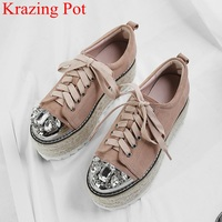 hot sale brand platform luxury genuine leather high heels lace up women pumps crystal rhinestone thick bottom casual shoes L10