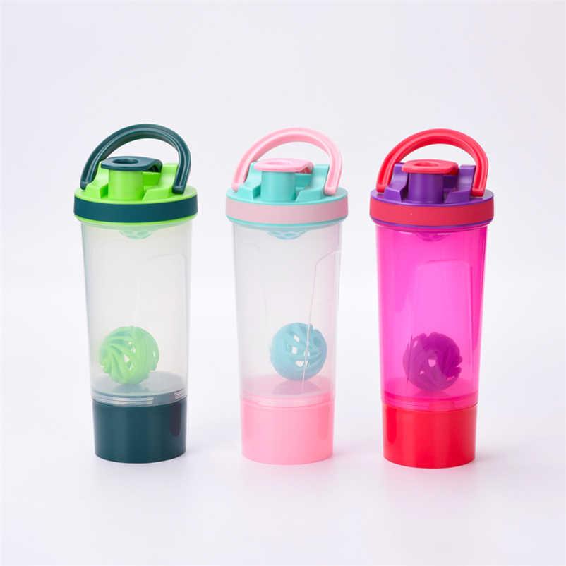 Alta-capacidade 2-camada Esporte Garrafas de Água + Com Bola Shaker Shaker Proteína Garrafa Shaker Proteína de Soro de leite de Café para bolsa De Viagem De Fitness