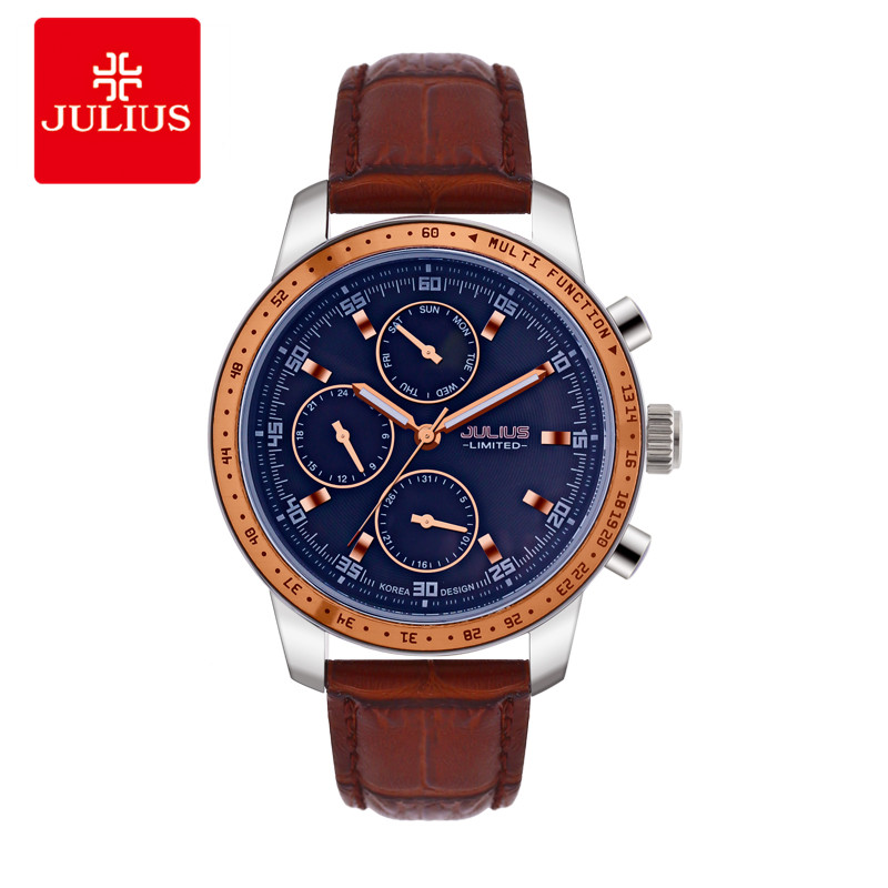 JULIUS 2018 Luxury Watch Men Limited Edition 3 Dials Multi-function Leather Strap Steel Waterproof Watch Freeship Top Brand C1 eset nod32 антивирус platinum edition 3 пк 2 года