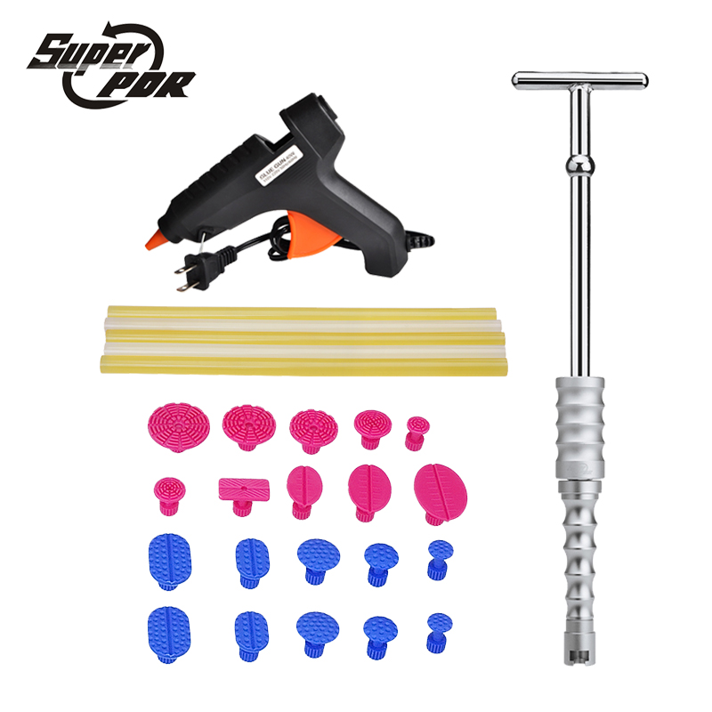 Super PDR tools Car Dent Repair Tool kit Glue Gun Slide Hammer glue sticks 27pcs auto body repair tools Dent removal tool kit super pdr slide hammer glue gun glue sticks dent repair tools dent lifter car dent removal tool set 29pcs
