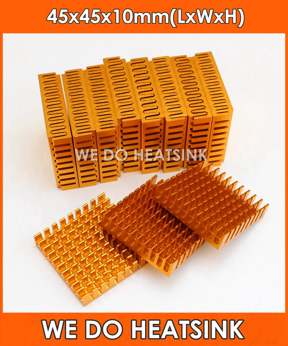 WE DO HEATSINK 2pcs 45*45*10mm Heatsink Cooling Fin Aluminum Heat Sink Radiator Cooler for LED, Power IC Transistor, PCB radiator aluminum cooler cooling heatsink extruded profile heat sink for computer pc chipset power ic electric device led light
