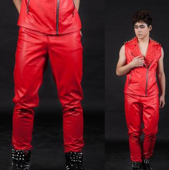 Stage personality high quality men leather pants motorcycle pant feet trousers singer dance rock fashion pantalon homme red