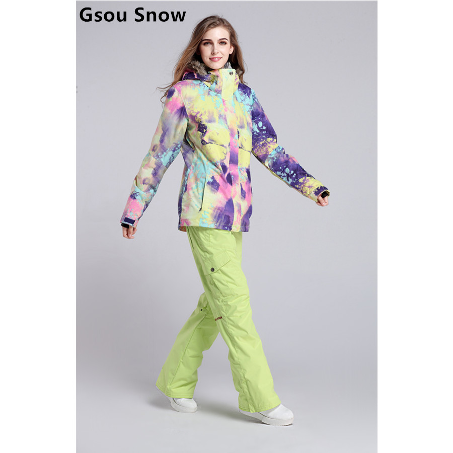 Gsou snow womens ski suit colorful dream ski jacket and yellow green ski pants ladies snowboard suit female winter sports suit gsou snow ski suit for women skiing suit winter outdoor sports clothes snowboard set camouflage ski jacket and pants multicolor