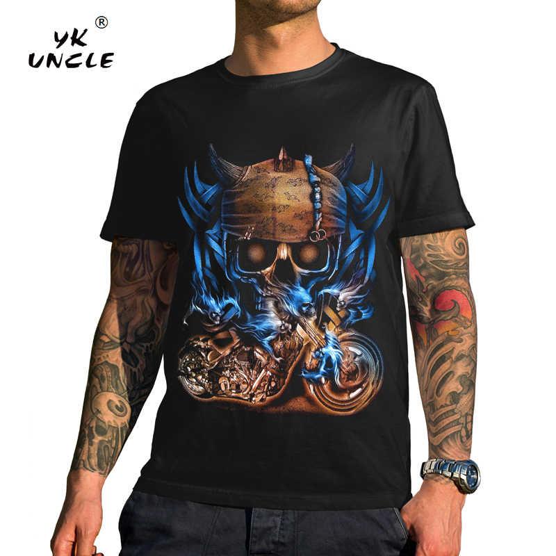 502292989dfe YK UNCLE Hip Hop Punk Rock Style Men T shirt 3D Pirate Skulls Motorcycle  Printed Cool