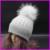2016 Diseñador de la Marca Mujeres Adultas de Rayas Teñido de piel de Mapache de Lana de Punto Sombrero del Invierno Casquillo Hembra Sombreros Gorros Pompom