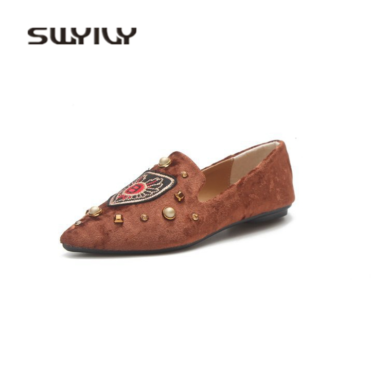 SWYIVY Woman Flats Casual Shoes Embroidery Spring Single Casual Shoes 2018 Pointed Toe Female Fashion Flats Rivet Leisure Shoes vintage embroidery women flats chinese floral canvas embroidered shoes national old beijing cloth single dance soft flats
