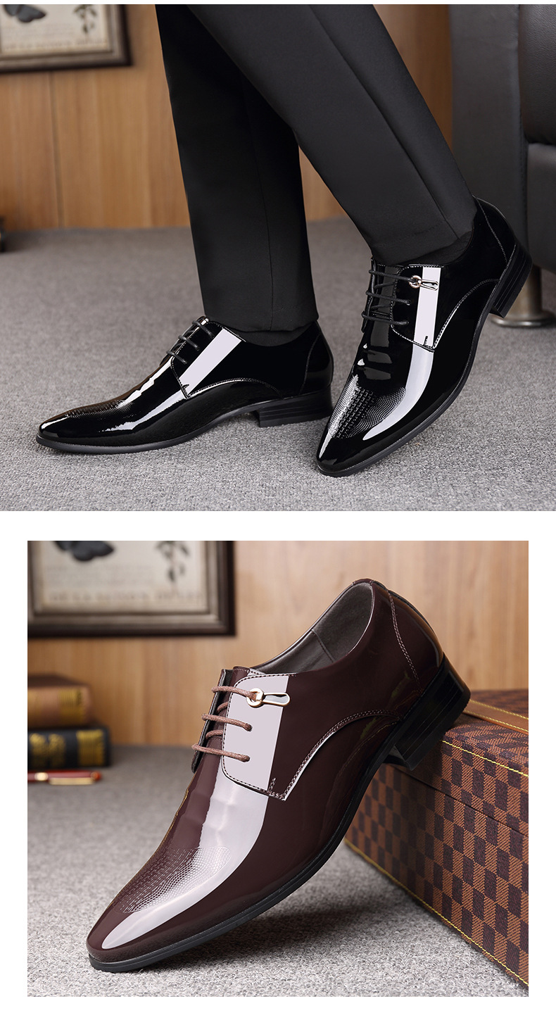 Men's Shoes Shoes Breathable Pointed Toe Decent Elegant Formal Men Dress Shoes Italian 2019 Patent Party Leather Office Wedding Shoes Man Oxfords
