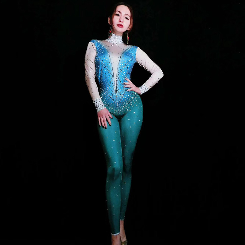 Silver Rhinestones Backless Jumpsuit Birthday Celebrate Rave Outfit Nude Blue Bodysuit Evening Women Singer Dance Outfit DT1162