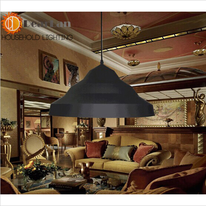ФОТО Luxury Vintage Aluminum Pendant Lamp Light Iron Metal  Light E27 For Bar Coffee Loft Clothing Store Pendant Lamp
