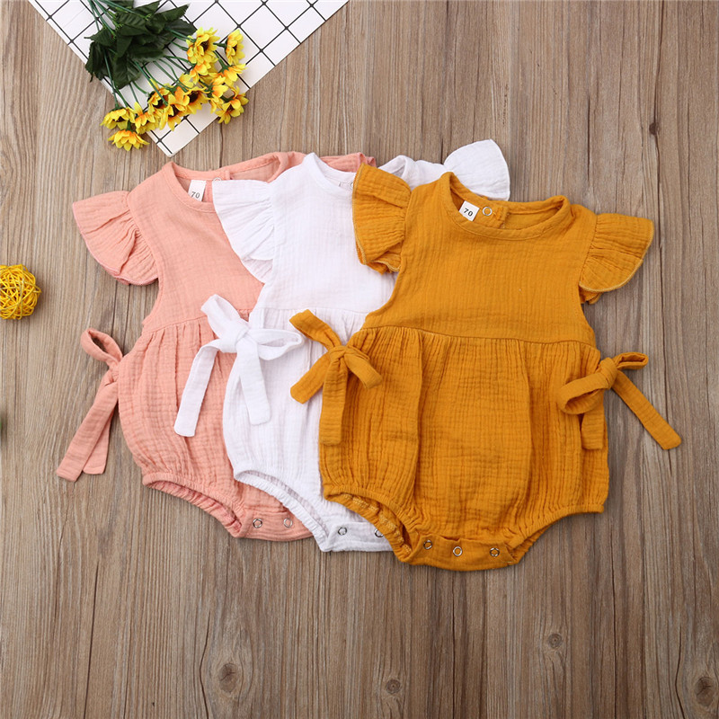 Cute Newborn Infant Clothes Baby Girl Bodysuit Solid Solid Color Fly Sleeve Bow Jumpsuit Baby Girl Cotton O-Neck Sunsuit 0-24MCute Newborn Infant Clothes Baby Girl Bodysuit Solid Solid Color Fly Sleeve Bow Jumpsuit Baby Girl Cotton O-Neck Sunsuit 0-24M