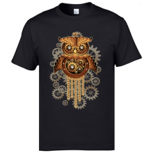 Steampunk Owl Machine Printed On Tshirts Vintage 2019 New Style Great T Shirts Natural Cotton Faddish Mens Clothing