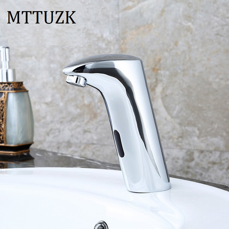 MTTUZK Bathroom Automatic Touch Free Sensor Faucets Hot and Cold water saving Inductive electric Water Tap mixer battery power elikor эпсилон 60 медный антик золото