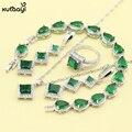 Superb XUTAAYI 925 Conjuntos de Jóias de Prata Criado Verde Esmeralda Colar/Anéis/Brincos/Pulseira Para as mulheres Dom Gratuito