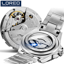 LOREO Germany watches men luxury brand Diver 200M automatic mechanical watch army Milan luminous gray relogio masculino PO04