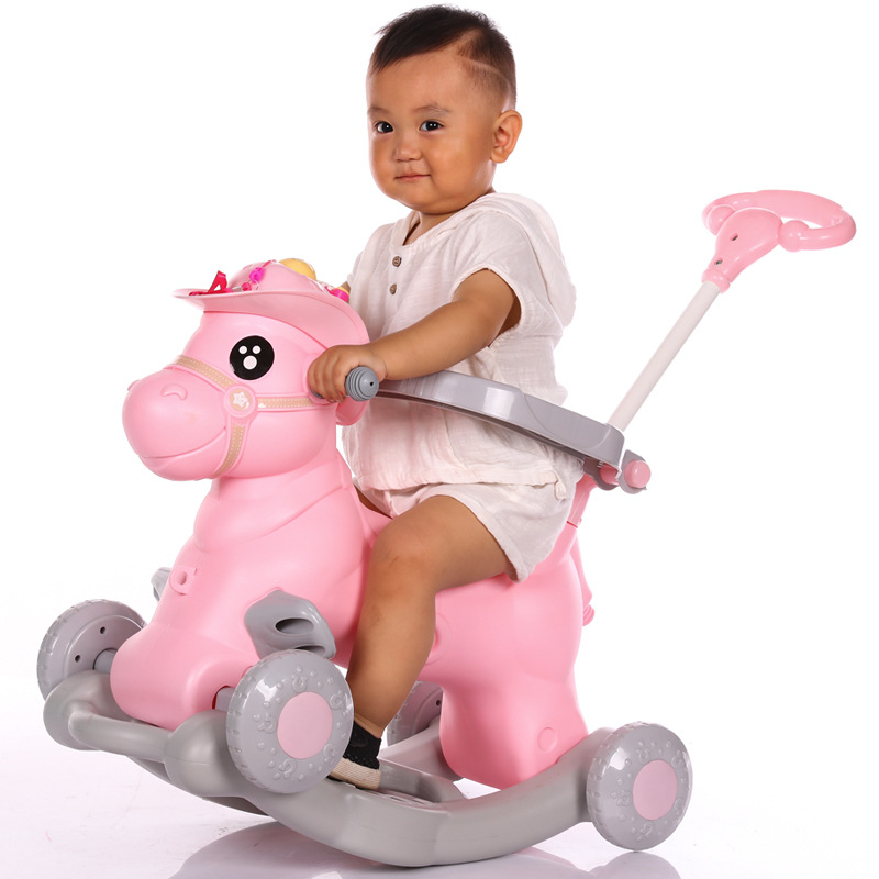 Baby Rocking Chair Children Ride on Horse Toy Stroller with Music Infant Rocker Chair Foldable Four Wheels Baby Stroller 3 In 1