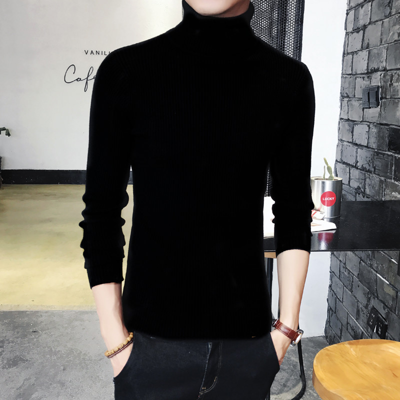 Plus Size Korean Men's Tops Fashion Cashmere High Neck Long Sleeve   T  -  Shirts   Casual Slim Bottoming Mens Autumn Tight   T     Shirt