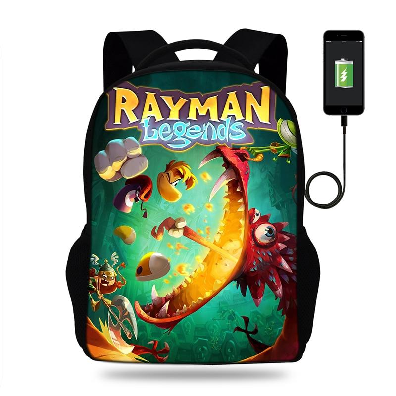 Rayman Legends Game Print Backpack SchoolBags For Girls Boys Teenager Orthopedic School Bag Packbags Mochila Usb Charge BookBag