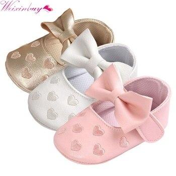 Buciki dziecięce niemowlęce z kokardą dla dziewczynki