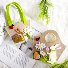 Cute Easter Rabbit Bunny Shopping Tote Gift Bag Handbag Decoration Kids Candy Egg Toy Organizer Storage