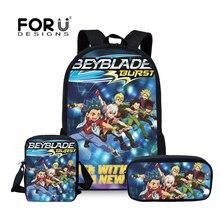 FORUDESIGNS Schoolbags Backpack Teenager Girls Boys Orthopedic Schoolbag Travel Beyblade Burst Game Cartoon Book Bags