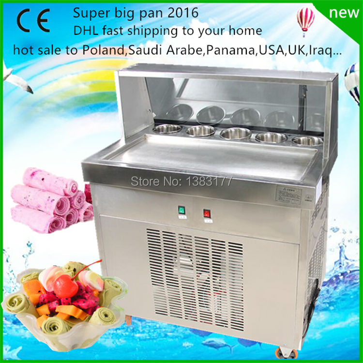 big pan thailand ice roll machine rolled fried ice cream machine single square pan soft ice cream machine free shipping big pan 50cm round pan roll machine automatic fried ice cream rolling rolled machine frying soft ice cream make